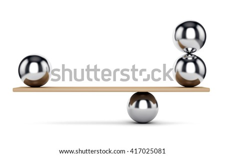 Abstract balance and harmony concept. Weight scale: metal spheres on plank isolated on white background. 3D illustration