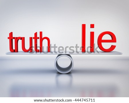 Abstract balance truth and lie (done in 3d rendering) - stock photo