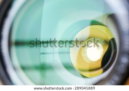 Abstract Balcony Reflect In Camera Lens Background - stock photo