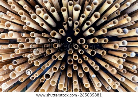 Abstract bamboo structure in a ceiling - stock photo