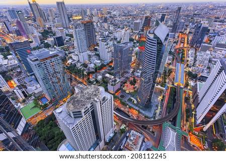 Abstract bangkok cityscape - stock photo
