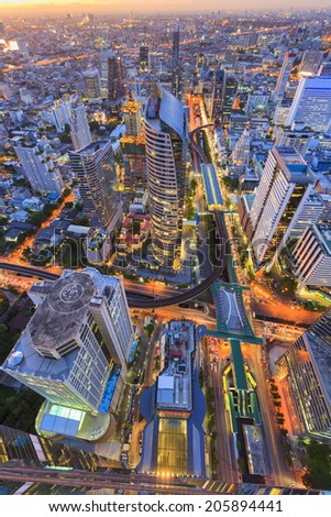 Abstract Bangkok cityscape in Thailand - stock photo