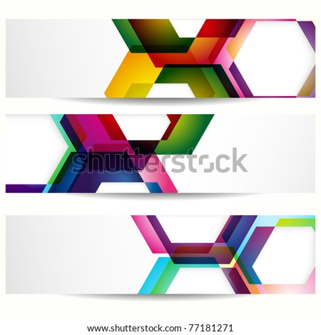 Abstract banner with forms of empty frames for your web design. - stock photo