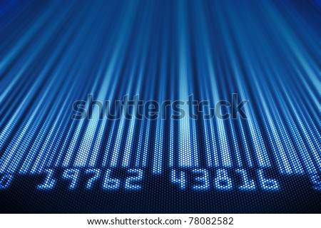 Abstract bar code design - 3d render on detail pixellated screen - stock photo