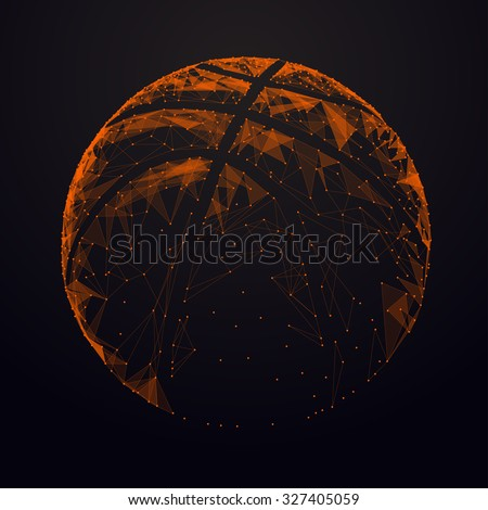 Abstract  basketball ball. Futuristic technology wireframe mesh polygonal element. Connection Structure. Geometric Modern Technology Concept. Digital Data Visualization.Basketball Graphic Concept - stock photo
