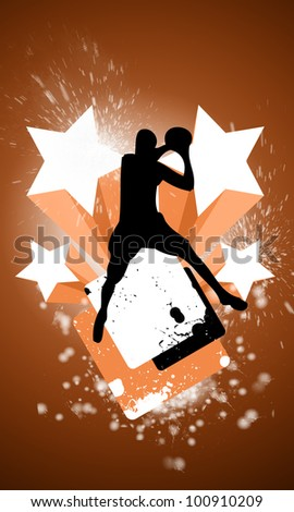 Abstract basketball or streetball background with space (poster, web, leaflet, magazine) - stock photo