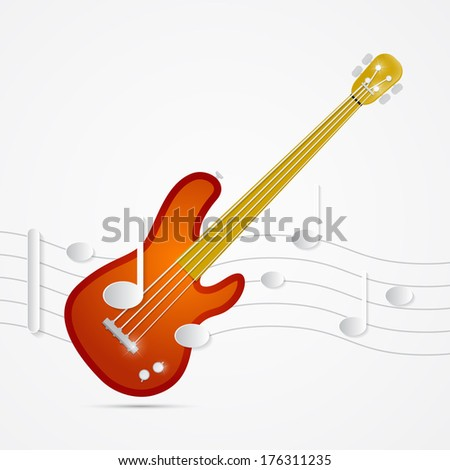 Abstract Bass Guitar, Staff and Notes Illustration - stock photo