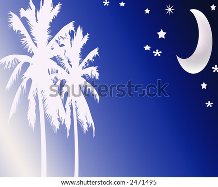 Abstract Beach Nightime Moon Scene design