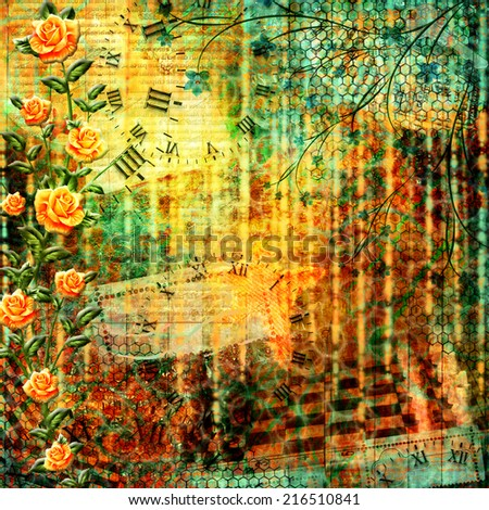 Abstract beautiful background in the style of mixed media with floral ornament with roses
