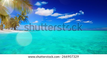 Abstract beautiful beach and tropical sea background - stock photo