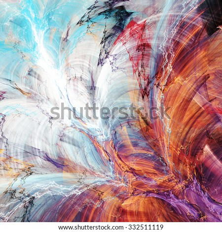 Abstract beautiful blue, red, purple and yellow bright color background. Dynamic painting texture. Modern futuristic pattern. Fractal artwork for creative graphic design