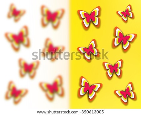 Abstract beautiful butterflies on yellow and white background. Blurred and sharp butterfly in paper-cut technique with shadow. Spring summer mood bright wallpaper with many multicolored butterflies. - stock photo
