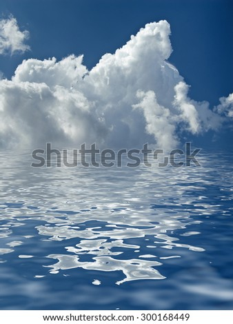 abstract beautiful clouds over the water - stock photo