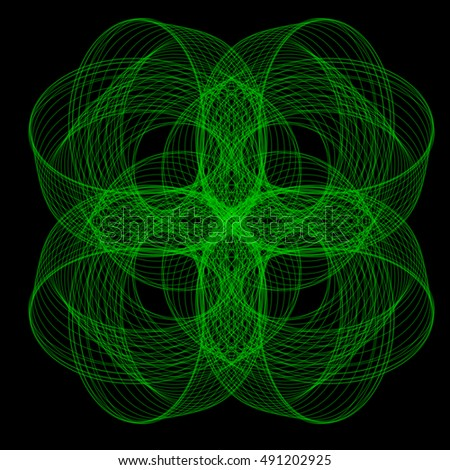 Abstract beautiful flower-shaped illustration consisting of a set of curves