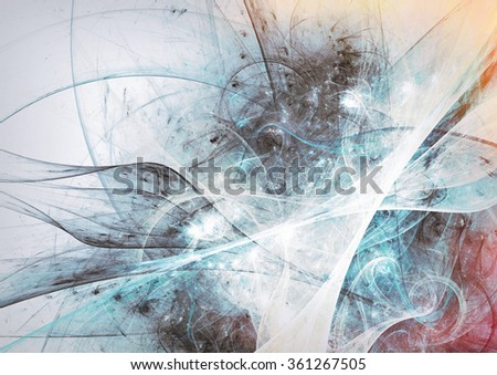 Abstract beautiful grey and blue soft color toned background. Dynamic smoke painting texture. Modern futuristic pattern. Fractal artwork for creative graphic design - stock photo