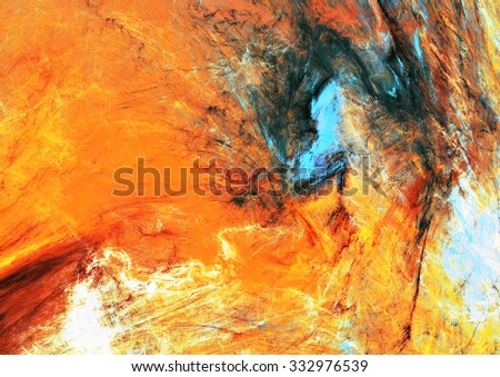 Abstract beautiful orange, blue and yellow bright color background. Dynamic painting texture. Modern futuristic pattern. Fractal artwork for creative graphic design - stock photo