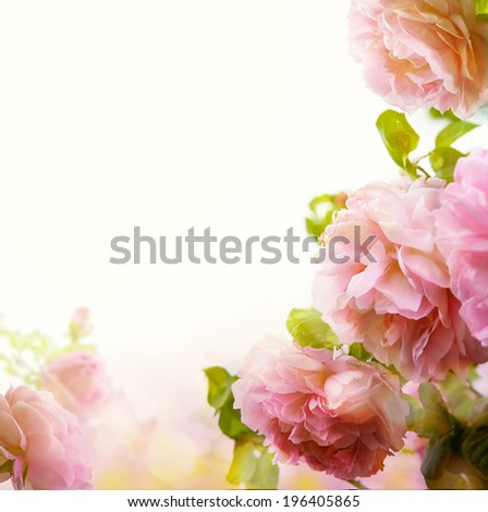 abstract Beautiful pastel floral border background  - stock photo