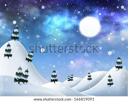 Abstract beautiful winter night background with falling snow.