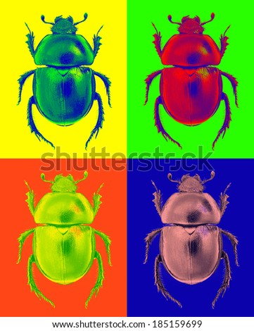 Abstract beetle in pop-art style - stock photo
