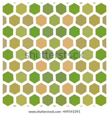 Abstract beige green hexagonal geometric low polygonal pattern with thick white countour - stock photo