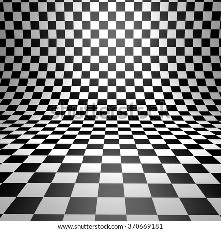 Abstract bent checkered 3D background. - stock photo
