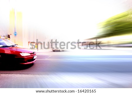 Abstract big city rush hour. Motion blurred - stock photo