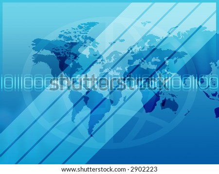 Abstract binary background with map of the world.