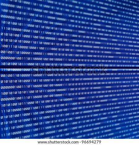 abstract binary code on blue background - stock photo