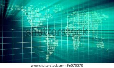 abstract binary code on turquoise background - stock photo