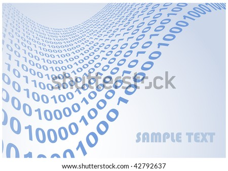 abstract binary code waves illustration background with copyspace for your text
