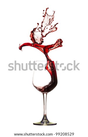Abstract bird from red wine splashing. - stock photo