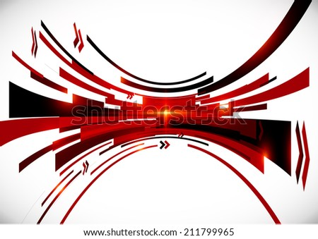 Abstract black and red perspective vector background - stock photo