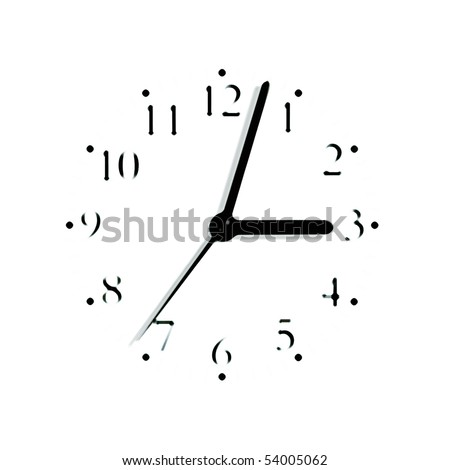 Abstract black and white analogue clock face dial reading 3:03 PM, isolated blurred macro silhouette - stock photo