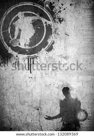 Abstract black and white basketball poster or flyer background with space - stock photo