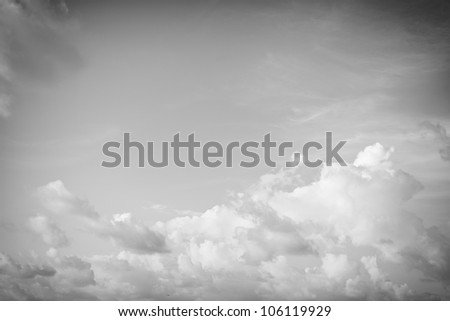 Abstract black and white clouds background - stock photo