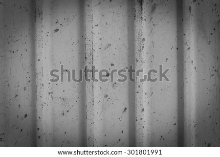 Abstract Black and White Corrugated zinc , iron metal texture - stock photo
