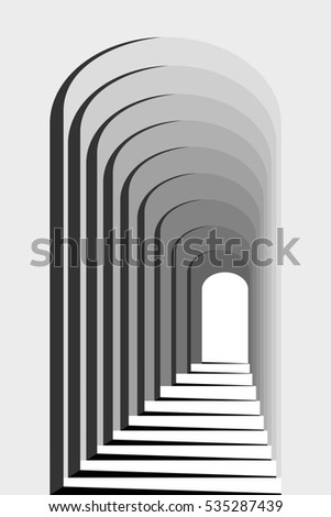 Abstract Black and White Geometric Pattern with Colonnade. Architectural Light and Shadow. Raster. 3D Illustration