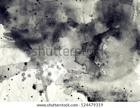 Abstract black and white ink background - stock photo