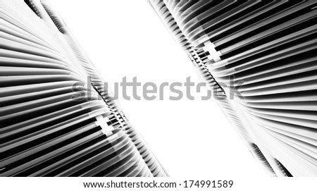 Abstract black and white rippled steel waves going to infinity  - stock photo