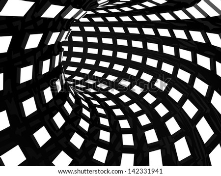 Abstract black and white tunnel - stock photo