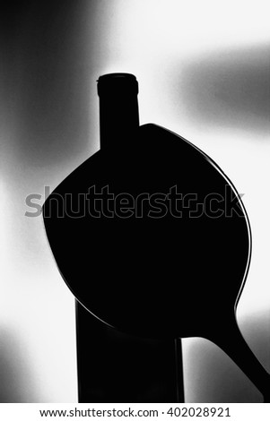 Abstract black and white wine  glassware background design  - stock photo