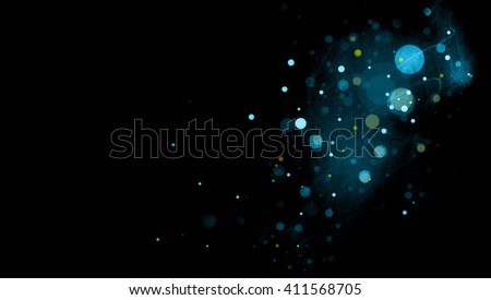 abstract black background with blue circles or bubbles floating in space with textured mist or scratch texture areas in soft blurred design - stock photo