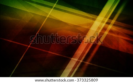 abstract black background with blurred stripes and line decorations in random pattern, geometric background design in bright red yellow green and gold colors - stock photo