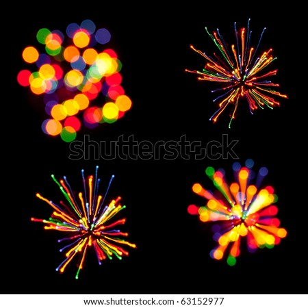 Abstract black background with color lights - stock photo