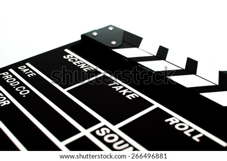 Abstract black clapperboard isolated on white background - stock photo