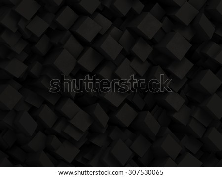 Abstract black 3D geometric background made by dark polygon boxes