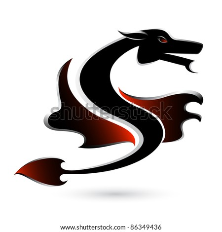 Abstract black dragon. Illustration on white background for design. - stock photo