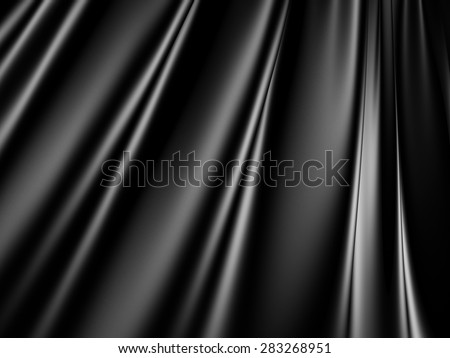 Abstract Black Satin Silk Cloth Waves Background. 3d Render Illustration - stock photo