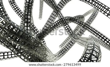 Abstract black shapes on a white background, 3 d render