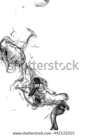 Abstract black smoke on white background from the incense sticks